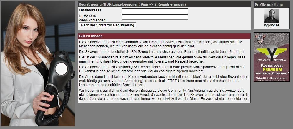 WWW.SKLAVENZENTRALE.COM - Registrierung