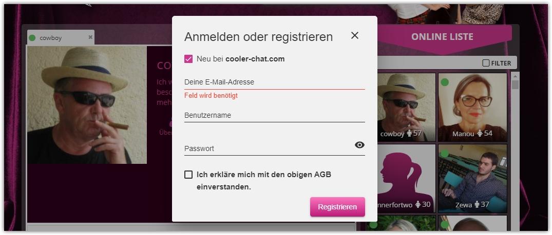 cooler-chat-Registrierung