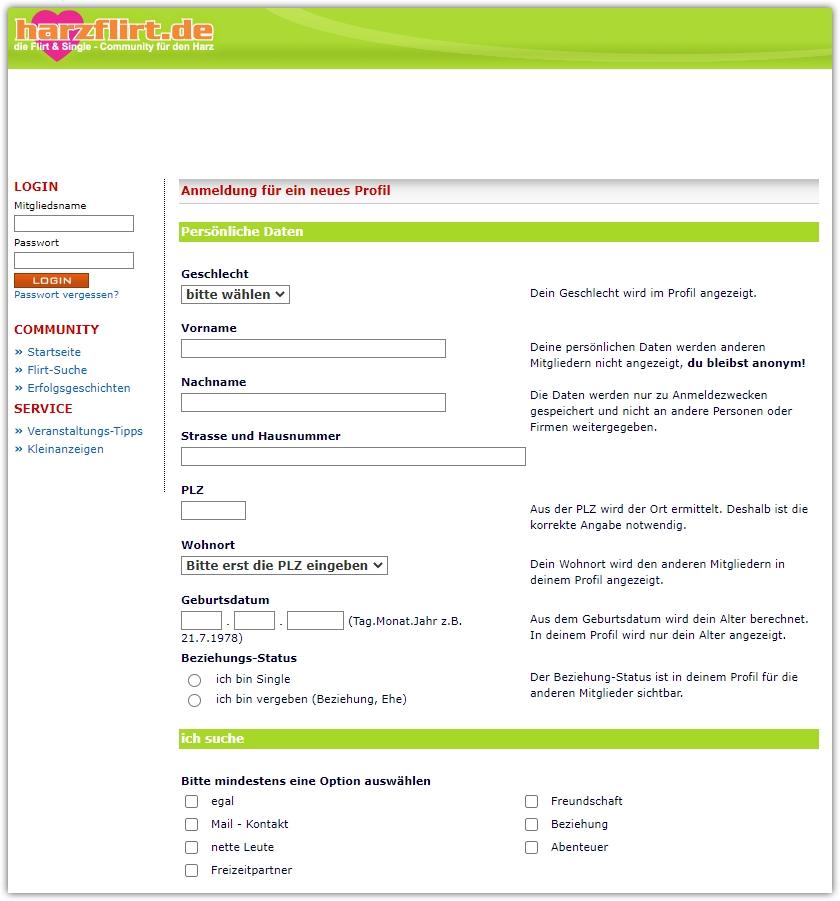 harzflirt-registrierung